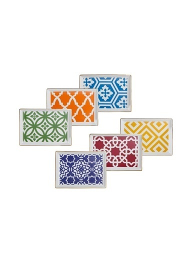 Porland Morocco 6 Renk 6'Lı Dikdörtgen Kahvaltı Tabak Renkli
